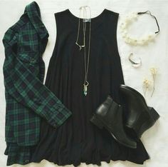Green Plaid & Black Dress