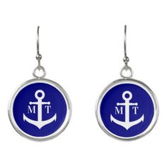 Custom Monogram Navy Blue and White Anchor Earrings - jewelry jewellery unique special diy gift present