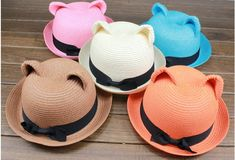 Kawaii Cute Japanese cat Ear Hat Straw Bear Hat With Cat Ears Kawaii mutil-color  One size fits all