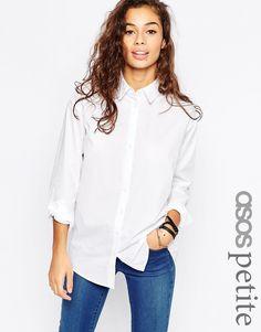 Image 1 ofASOS PETITE Smart Boyfriend White Shirt