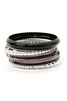 Black Red And Silver Spike Bangle Bracelet 10 Pack Sku 185148 Bangle Bracelets, Bangles, Hot Topic, Jewelry Accessories, Wedding Rings, Engagement Rings, Xmas Ideas, My Style, Emo