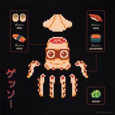 Morceaux de monstres en 8bits 8bit monstres geek morceaux dissection 02 design