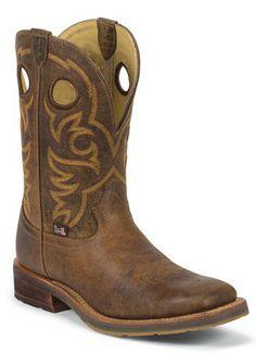 Mens Justin Rugged Tan Square Toe Cowboy Boot   AA Callisters