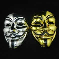 Outdoorfits 2016 hot selling Fashion High Quality PVC V for Vendetta Guy Fawkes Gold and silver Mask Anonymous Halloween Costume Cosplay - Type: Party Masks,Grimace Maske Halloween, Halloween News, Halloween Cosplay, Halloween Masks, Halloween Party, Anonymous Mask, Adult Costumes, Cosplay Costumes, Mascaras