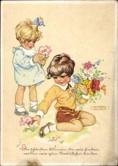 Künstler Ansichtskarte / Postkarte Lungershausen Ilse Wende, Mädchen mit Blumen