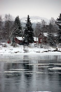 Houses by the lake, Sweden