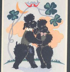 ART DECO ROMANTIC POODLE DOGS EMBRACE,GOOD LUCK SHAMROCKS,ZAZOU POSTCARD