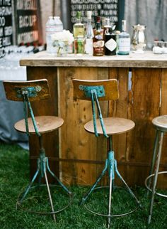 bar corner with rustic wood walls. Not sure how to incorporate the bar at the reception