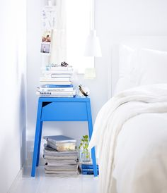 Blue Ikea bedside table