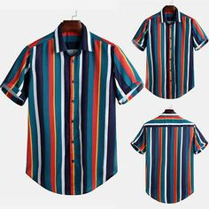 Men Striped Shirt Casual Beach Party Button Down Short Sleeve Casual Loose Tops Slim Fit Dress Shirts, Slim Fit Dresses, Fitted Dress Shirts, Summer Shirts, Hawaii Shirts, Summer Tops, Casual Summer, Summer Beach, Casual Shirts For Men