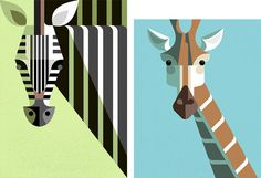 Animal illustrations stripped down to their essentials by Josh Brill