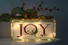 Christmas Joy Holiday Glass Block Light