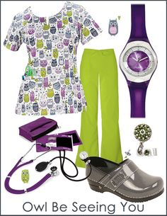 Owl Be Seeing You by Cherokee Print Style Board!  This Owl Be Seeing You print top by Cherokee Scrubs is adorable. Pair it with fun and colorful medical accessories for a perfect outfit!  Click here to view these items: http://tinyurl.com/P2662OBSY