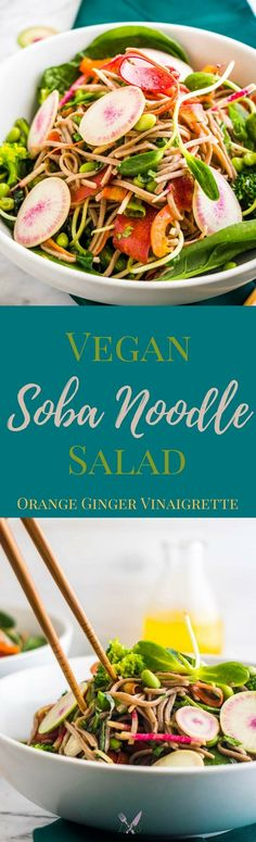 A vegan soba noodle salad is the perfect light, and filling, option for lunch or a dinner! Packed with farm fresh veggies and edamame for protein, this salad will leave you feeling satisfied. via @ijustmakesandwi