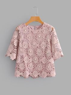 Casual Top Regular Fit Round Neck Short Sleeve Pullovers Pink Regular Length Pearl Beaded Guipure Lace Blouse Source by Blouses