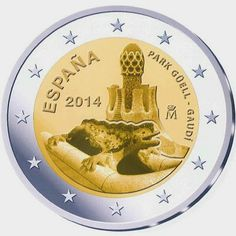 2 Euro Commemorative Coins Spain Park Güell, Work of Antoni Gaudí French Coins, Euro Coins, Foreign Coins, Forex Trading Signals, Antoni Gaudi, Commemorative Coins, World Coins, Coin Collecting, Valuable Coins