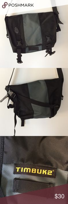"Timbuk2 messenger bag! I can't totally remember but I think this is a size small. Black and gray--great condition. These are awesome for class or biking! They have the strap on the back so it doesn't twist around. Lots of pockets. Look up for factory images. Great!! 1'x18"" timbuk2 Bags Messenger Bags"