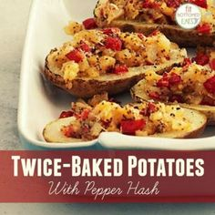 This twice-baked potatoes with pepper hash recipe is SO good.
