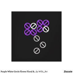 Purple White Circle Flower Floral Blossom Canvas - •	Beautiful addition to any…