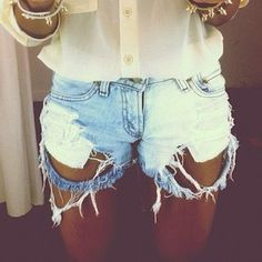 ripped shorts. For some reason I like these way better than the traditional looking jean shorts. MUST BUY!!