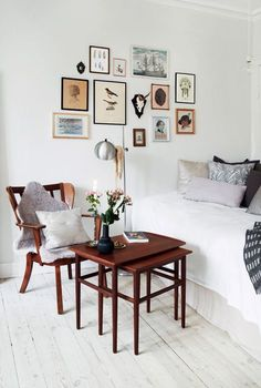 fun colorful gallery wall for a white space