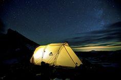 Camp high on Mt. Rainier. A tent in the stars by Jason  Hummel, via 500px