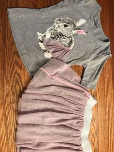 Knit Works Girls Size 6 Bunny Tee And Tulle Skirt Outfit  | eBay
