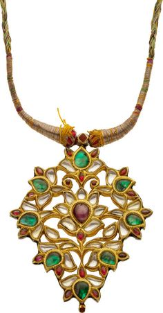 Antique Multi-Gemstone, Gold, Silk, Kundan Pendant-Necklace