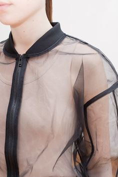 Transparency - sheer jacket over a nude-coloured vest; see-through fashion details // Nhu Duong