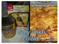 Easy peach cobbler 1 can of peaches 1 box of cake mix and one stick of butter Cake Mix Recipes, Dessert Recipes, Desserts, Yummy Recipes, Recipies, Dessert Ideas, Sweet Recipes, Salad Recipes, Fruit Recipes