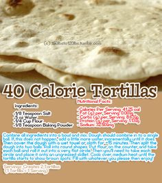 A 40 calorie tortilla, you say? [✓] Wow, that was so easy! :D Mine came out smaller than I expected (and not as fluffy as the picture), but perhaps through trial and error I can fix that. They are delicious, though, and I love the money I'm going to save!
