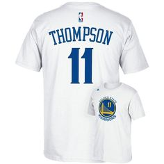 Men's Adidas Golden State Warriors Klay Thompson Player Tee ($26) ❤ liked on Polyvore featuring men's fashion, men's clothing, men's shirts, men's t-shirts, white, mens white shirts, mens t shirts, mens short sleeve t shirts, adidas mens t shirt and mens white short sleeve shirt