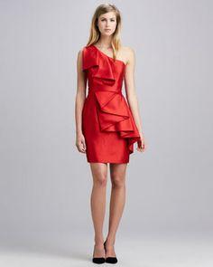 Shoshanna One-Shoulder Ruffle Dress #bridesmaid