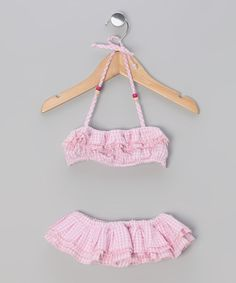 Another great find on #zulily! Pink Gingham Swan Sunsuit - Toddler & Girls by La faute à Voltaire #zulilyfinds