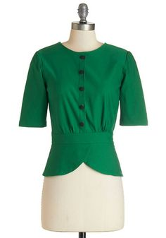 1950s Style Top - Slate In the Day Top in Emerald $64.99 #1950sfashion #retrofashion http://www.vintagedancer.com/1950s/1950s-style-tops-blouses/