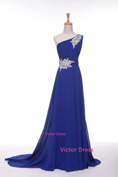 One Shoulder Chapel Train Evening Dresses, long evening dresses, evening gown, chiffon dress