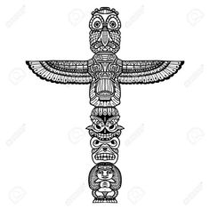 Doodle traditional indian religious totem isolated on white background vector illustration , Totem Pole Drawing, Native American Totem Poles, Forearm Tattoo Men, Nativity, Doodles, Symbols, Indian, Traditional, Drawings