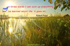 In three words I can sum up everything I`ve learned about life: it goes on.