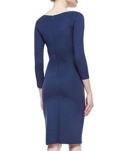 Bateau-Neck Side-Ruched Dress, Arles Blue