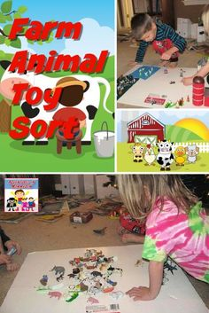 Farm animal sorting activity #STEM #preschool #kindergarten #handsonlearning Stem Preschool, Preschool Lesson Plans, Preschool Books, Preschool Kindergarten, Preschool Learning, Preschool Crafts, Fun Learning, Learning Activities, Farm Animal Toys