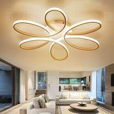 Buy EverFlower Modern Simple Floral Shape LED Semi Flush Mount Ceiling Light With Max Painted Finish, sale ends soon. Be inspired: discover affordable quality shopping on Gearbest Mobile! False Ceiling Design, Simple Ceiling Design, Light Design, Flush Ceiling Lights, Flush Mount Ceiling, Ceiling Fixtures, False Ceiling Living Room, Living Room Lighting, Bedroom Lighting
