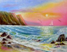 Малиновый закат На фоне малинового неба виднеется парусник. Буревестники летят над морем, но волны на переднем плане картины спокойно набегают на берег, и бури пока не предвидится.