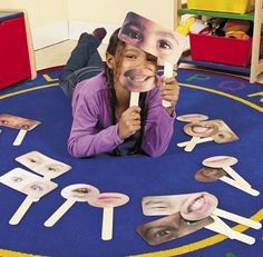 Dramatic play contributes to intellectual development of children. Using these fun masks also help children recognize different things. It incorporates the ability to problem solve based on human emotions Diversity Activities, Kindergarten Activities, Classroom Activities, Preschool Activities, All About Me Preschool, Role Play Areas, Emotional Development, Language Development, Different Emotions