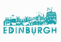 Screen Print | Limited Edition | Art Prints | Wall Art | Edinburgh Skyline by Kate Mclelland | Design Supremo