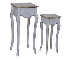 Set di 2 tavolini alti in paulownia Gabry - h 79/62 cm