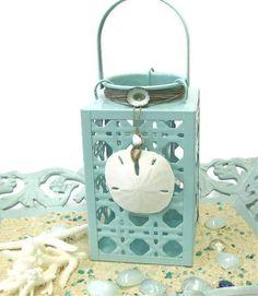 Beach Decor  Aqua Lantern with Seashells and by SeashellCollection, $35.00