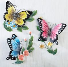Set 3 Hanging Sculpted Butterflies Wall Art Metal Home Decor NEWSet of 3 Spring Butterfly Trio Elegant Vibrant Bird Metal Plaque Wall Sculpture Hanging Art DecorInstantly add color and dimension to your home with this set of 3 beautifully hand-painte Metal Butterfly Wall Art, Butterfly Crafts, Butterfly Flowers, Beautiful Butterflies, Spring Flowers, 3d Wall Art, Wall Art Sets, Metal Wall Art, Wall Art Decor