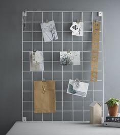 wire mesh memo mood board in white