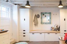 <3 minimal exposed hooks <3 yoga mat basket <3 ikea stuva storage (Justine Sterling Design)