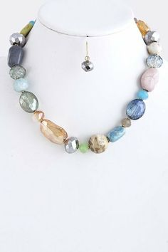 """Mix Stone Statement NecklacE With Gold Accent StarShine Jewelry. $24.10. Lobster claw clasp with 3"""" extender. Length approx 14"""". Lead compliant. Mixed stone necklace"""